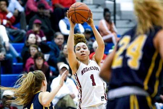 Muskegon's Alyza Winston looks to pass during the second quarter on Tuesday, March 19, 2019, at Loy Norrix High School in Kalamazoo.