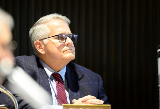 Mayor Tim Theaker at Mansfield City Council on March 19, 2019.