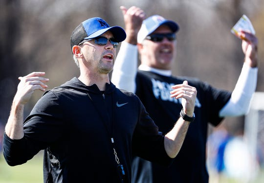Memphis head coach Mike Norvell (left) during spring football practice.