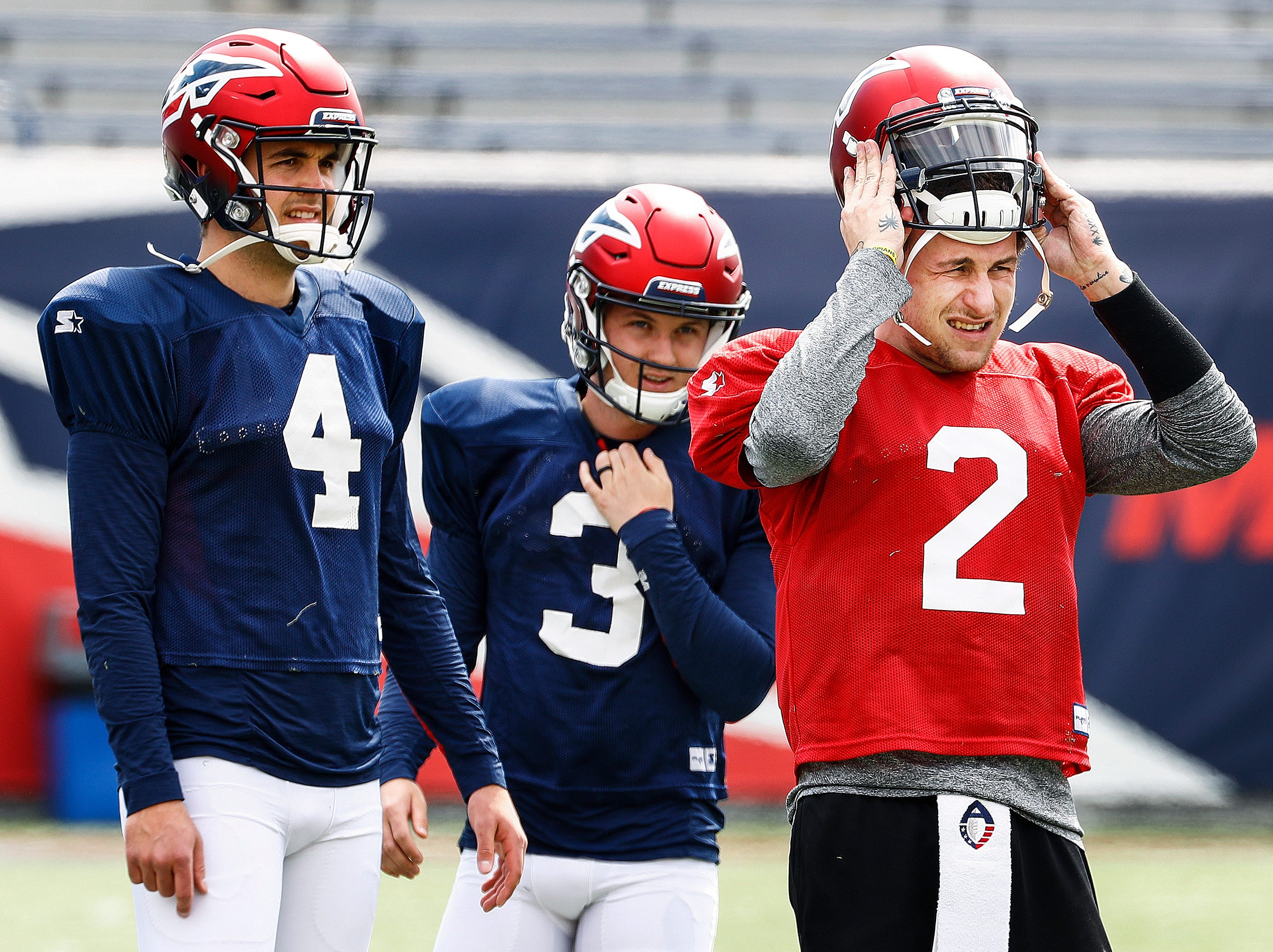 Former Heisman Trophy winner and recent pick up by the Memphis Express, quarterback Johnny Manziel practices with the team at the Liberty Bowl Memorial Stadium.