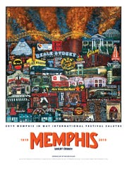 "Here is the 2019 Memphis in May ""Fine Arts Poster,"" showcasing the original art by Evelina Dillon."