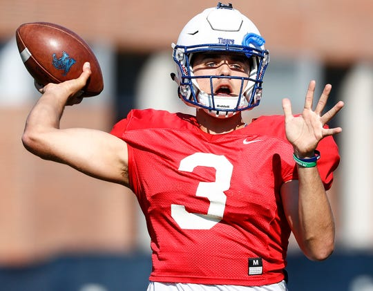 Memphis quarterback Brady White during spring football practice drills.