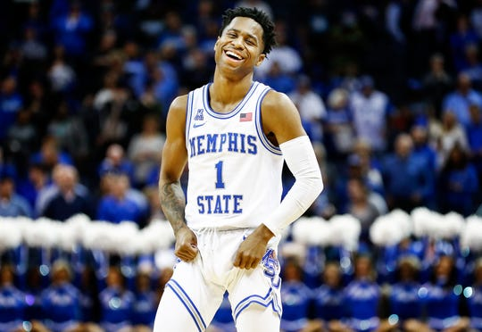 Memphis guard Tyler Harris celebrates a 74-60 victory over San Diego in their first round NIT game at the FedExForum, Tuesday, March 19, 2019.