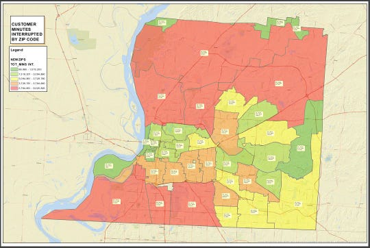 Memphis Light, Gas and Water presented a map showing customer minutes with power interruptions by zip code.