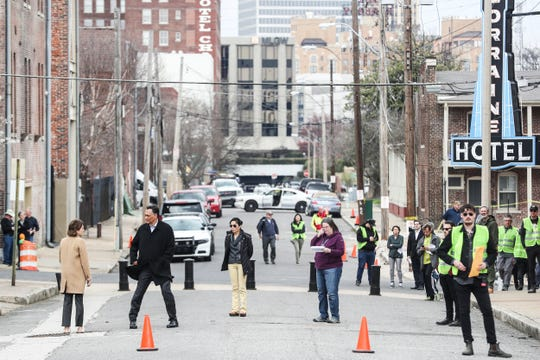 """March 20, 2019 - """"Bluff City Law"""", the NBC-TV pilot now underway in Memphis, was seen working along Mulberry St. near the National Civil Rights Museum on Wednesday afternoon."""