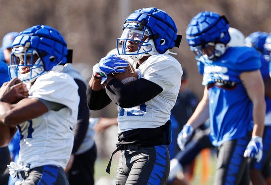 Memphis running back Kenneth Gainwell (right) during spring football practice.
