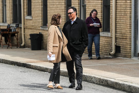 """March 20, 2019 - Jimmy Smits, right, and Caitlin McGee, left, with """"Bluff City Law"""", the NBC-TV pilot now underway in Memphis, were seen working along Mulberry St. near the National Civil Rights Museum on Wednesday afternoon."""