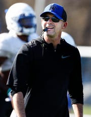 Memphis head coach Mike Norvell during spring football practice.