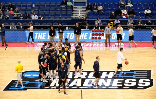 Marquette holds an open practice at the on Wednesday at the XL Center in Hartford.