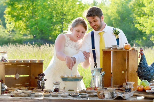 Allison Cebulla and husband, Craig, at their Door County wedding. They served pie, of course.