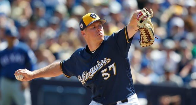 Chase Anderson pitched four innings Tuesday in the Brewers' loss to the Rangers.