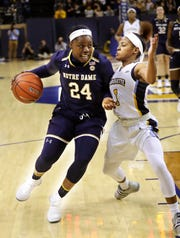 Arike Ogunbowale, a DSHA graduate, was the star of Notre Dame's NCAA title team a year ago.