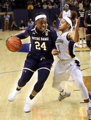 Arike Ogunbowale, a DSHA graduate, was the star of Notre Dame's NCAA title team a year ago.