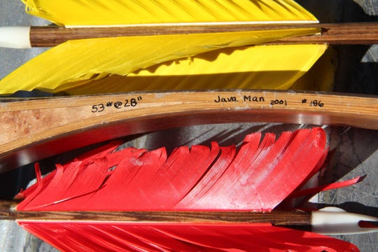 Colorful flu flu fletching on wooden shafted arrows was part of the gear used in the Traditional Archery Pheasant Shoot.
