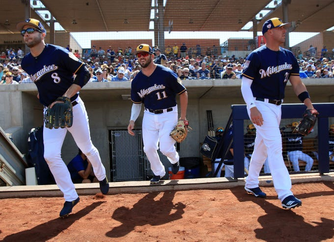 Ryan Braun, Mike Moustakas and Travis Shaw take the field.