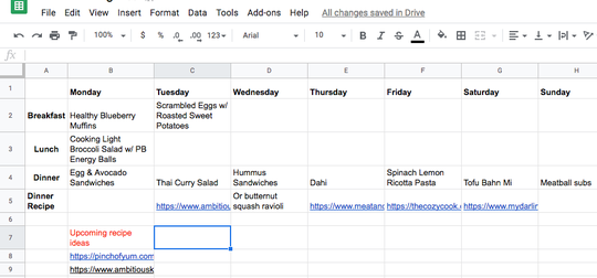 Ben and Maura Ambroch use a spreadsheet to create their meal plans for the week. Pictured are meals for the week of March 18.