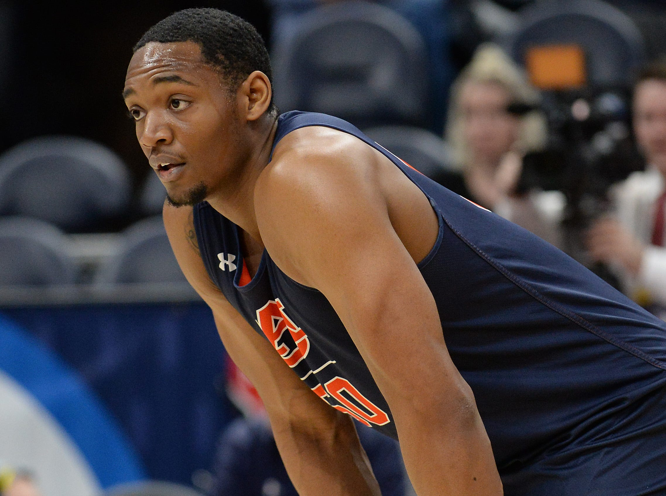 March 20, 2019; Salt Lake City, UT, USA; Auburn Tigers center Austin Wiley (50) during practice before the first round of the 2019 NCAA Tournament at Vivint Smart Home Arena. Mandatory Credit: Gary A. Vasquez-USA TODAY Sports