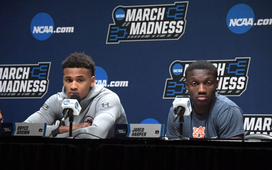 Mar 20, 2019; Salt Lake City, UT, USA; Auburn Tigers guards Bryce Brown (left) and Jared Harper during a press conference before the first round of the 2019 NCAA Tournament at Vivint Smart Home Arena. Mandatory Credit: Kirby Lee-USA TODAY Sports