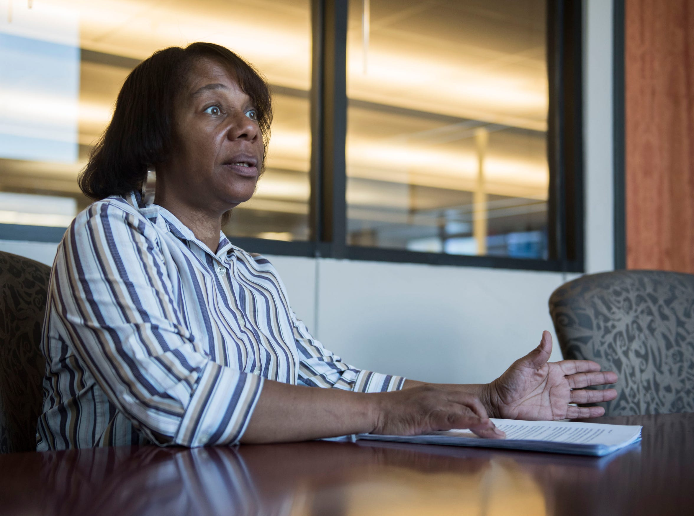 Patricia Holliday June, candidate for city council district 3, is interviewed in Montgomery, Ala., on Wednesday, March 20, 2019.