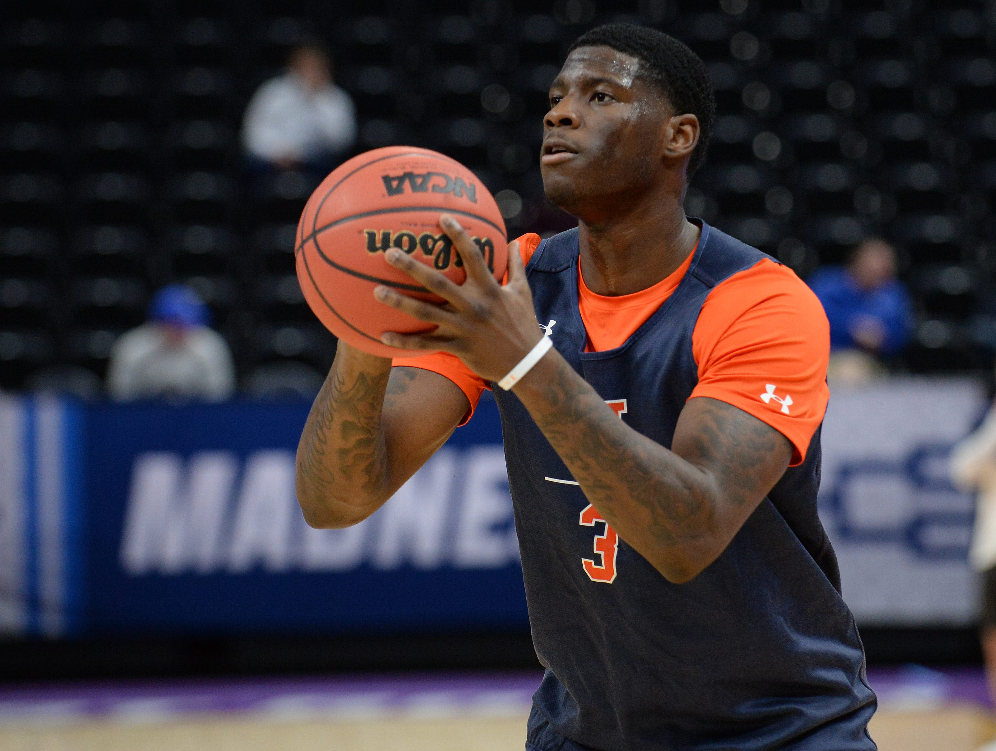 March 20, 2019; Salt Lake City, UT, USA; Auburn Tigers forward Danjel Purifoy (3) shoots during practice before the first round of the 2019 NCAA Tournament at Vivint Smart Home Arena. Mandatory Credit: Gary A. Vasquez-USA TODAY Sports
