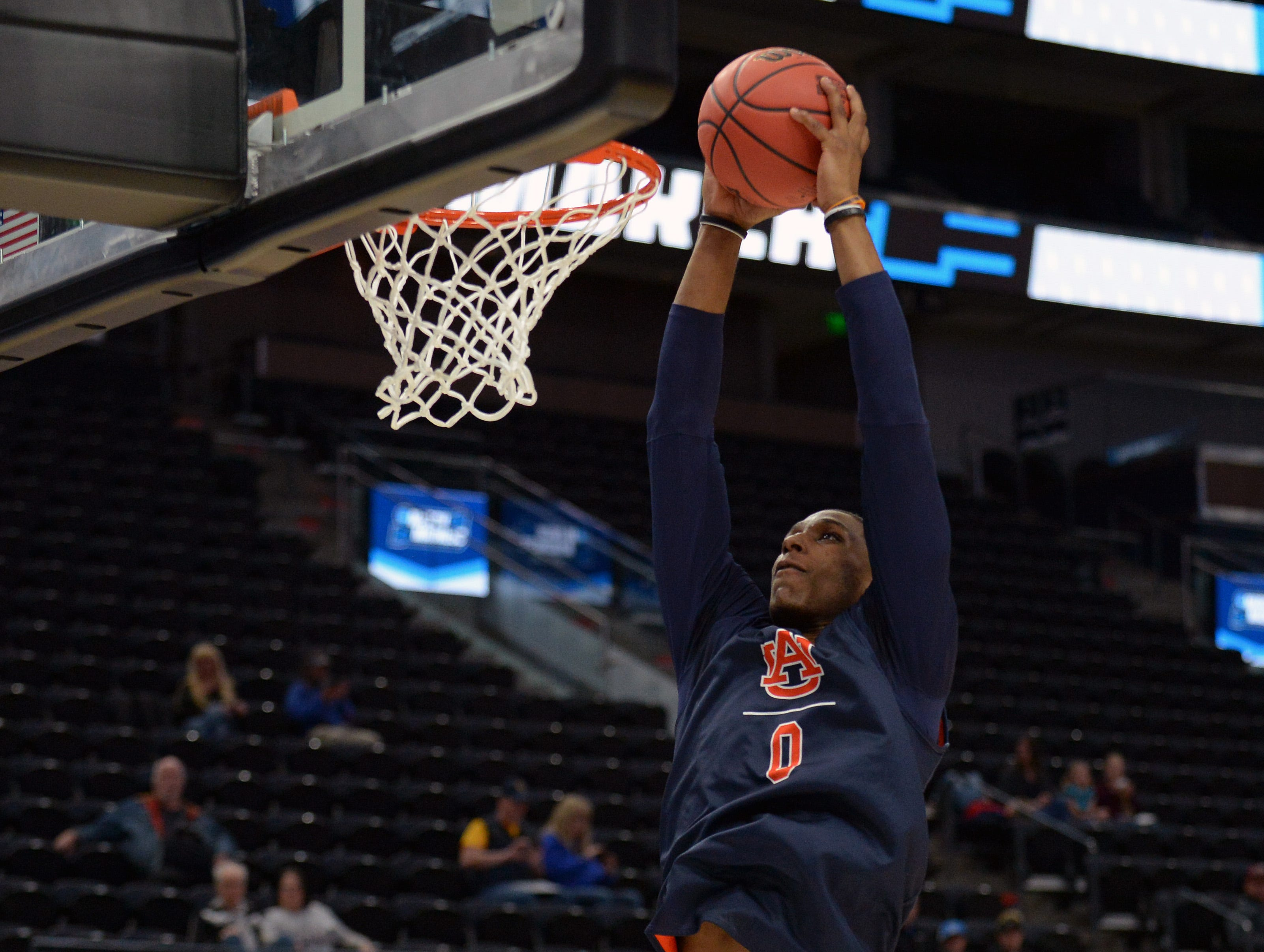 March 20, 2019; Salt Lake City, UT, USA; Auburn Tigers forward Horace Spencer (0) during practice before the first round of the 2019 NCAA Tournament at Vivint Smart Home Arena. Mandatory Credit: Gary A. Vasquez-USA TODAY Sports