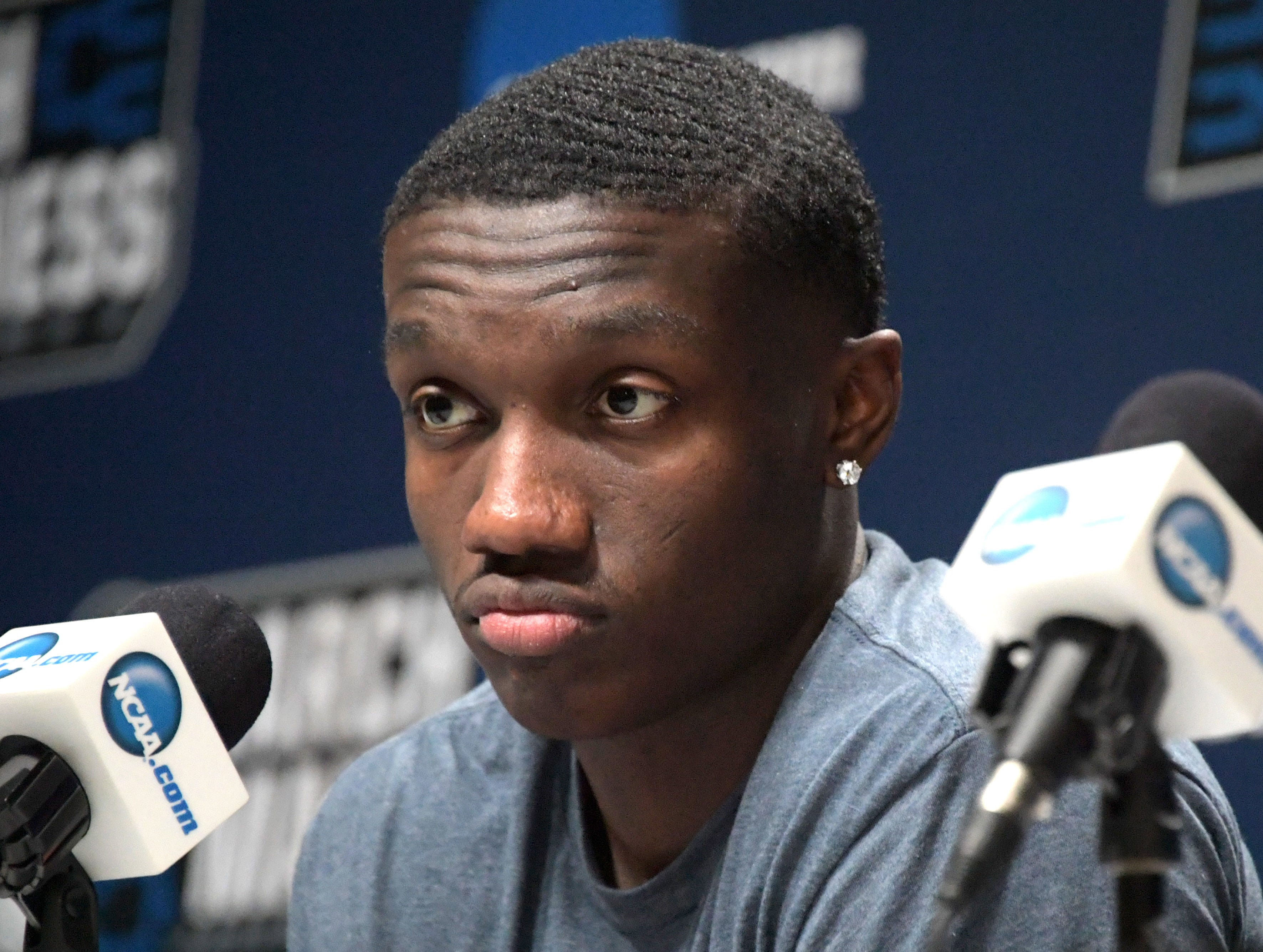Mar 20, 2019; Salt Lake City, UT, USA; Auburn Tigers guard Jared Harper during a press conference before the first round of the 2019 NCAA Tournament at Vivint Smart Home Arena. Mandatory Credit: Kirby Lee-USA TODAY Sports