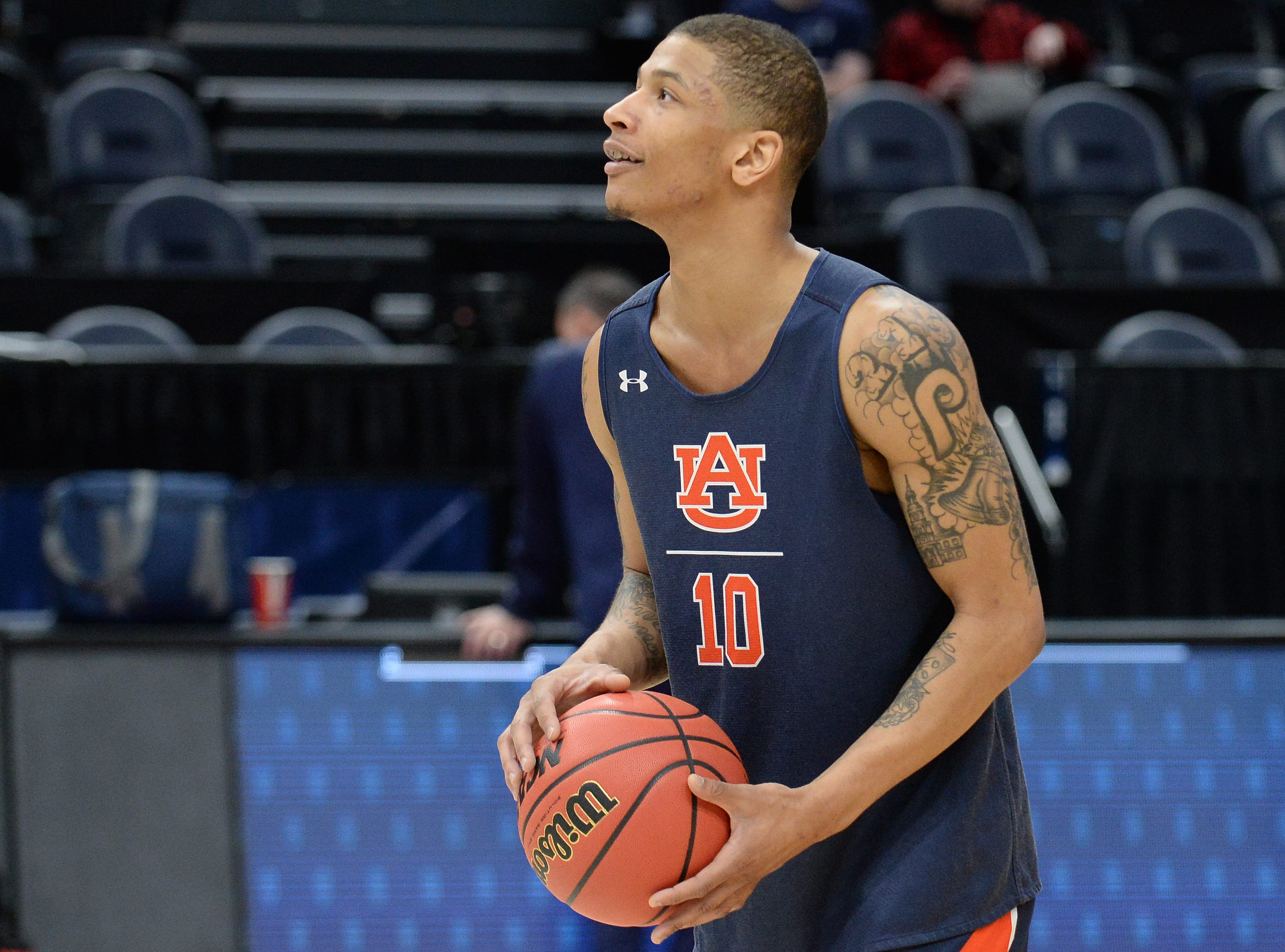 March 20, 2019; Salt Lake City, UT, USA; Auburn Tigers guard Samir Doughty (10) during practice before the first round of the 2019 NCAA Tournament at Vivint Smart Home Arena. Mandatory Credit: Gary A. Vasquez-USA TODAY Sports