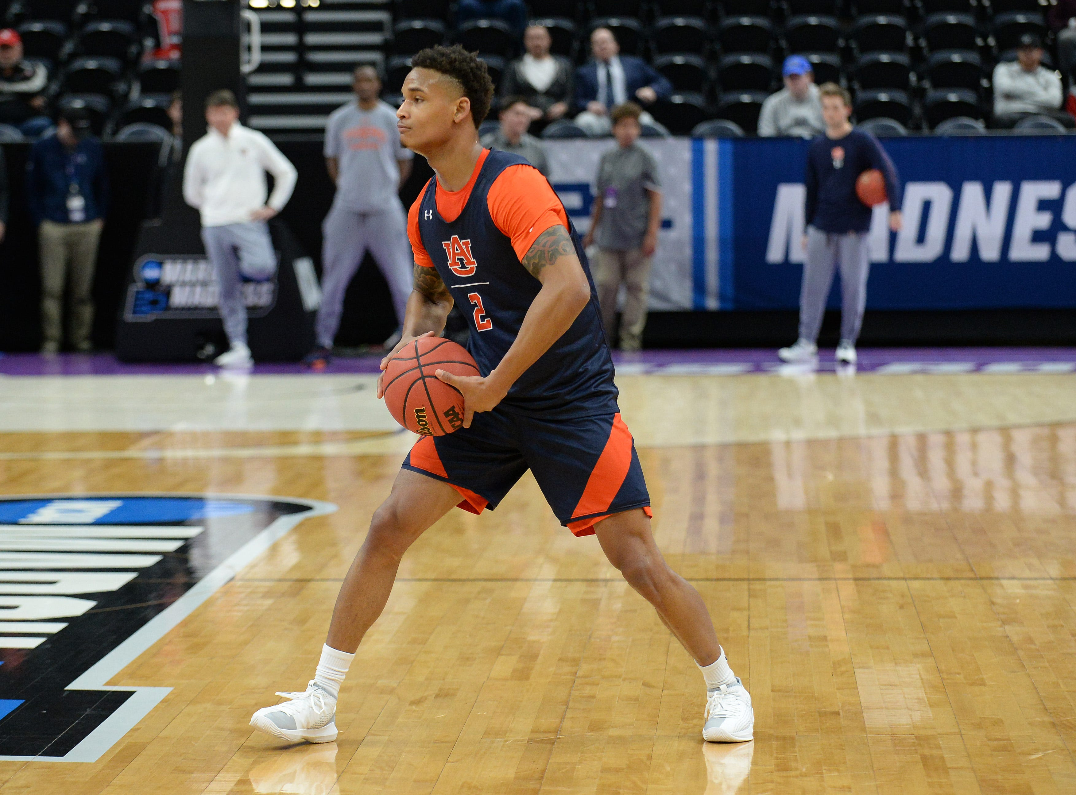 Auburn guard Bryce Brown (2) during practice before the first round of the 2019 NCAA Tournament at Vivint Smart Home Aren on March 20, 2019, in Salt Lake City.