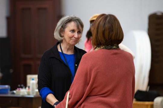 "Greta Lambert, left, who plays Ouiser Boudreaux, during rehearsal for ""Steel Magnolias"" at the Alabama Shakespeare Festival. The play runs March 21-May 5, 2019."