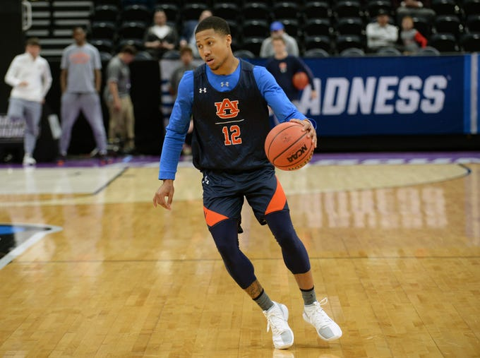 March 20, 2019; Salt Lake City, UT, USA; Auburn Tigers guard J'Von McCormick (12) during practice before the first round of the 2019 NCAA Tournament at Vivint Smart Home Arena. Mandatory Credit: Gary A. Vasquez-USA TODAY Sports