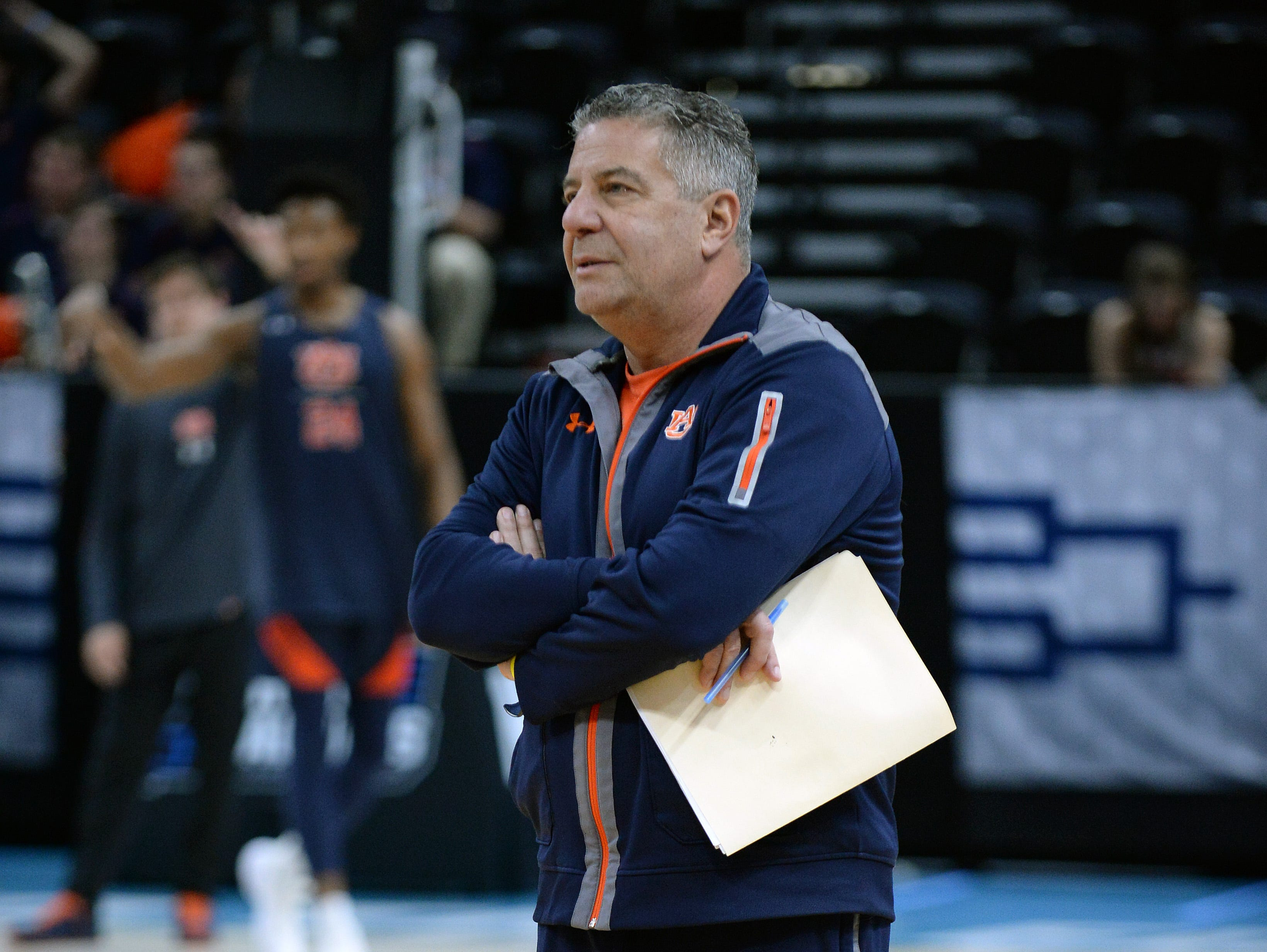 March 20, 2019; Salt Lake City, UT, USA; Auburn Tigers head coach Bruce Pearl during practice before the first round of the 2019 NCAA Tournament at Vivint Smart Home Arena. Mandatory Credit: Gary A. Vasquez-USA TODAY Sports