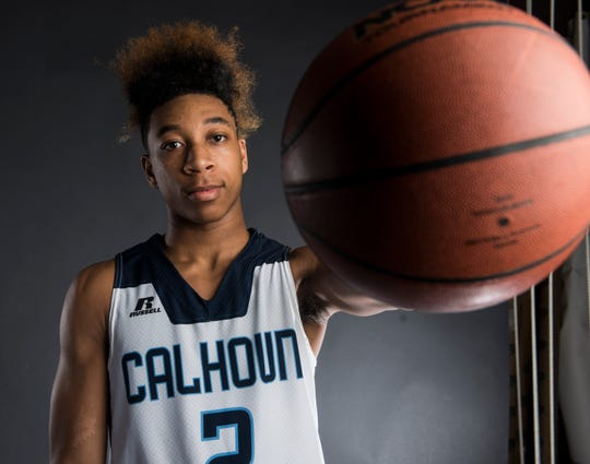 All-Metro athlete Calhoun's J.D. Davison poses for a portrait in Montgomery, Ala., on Thursday, March 14, 2019.