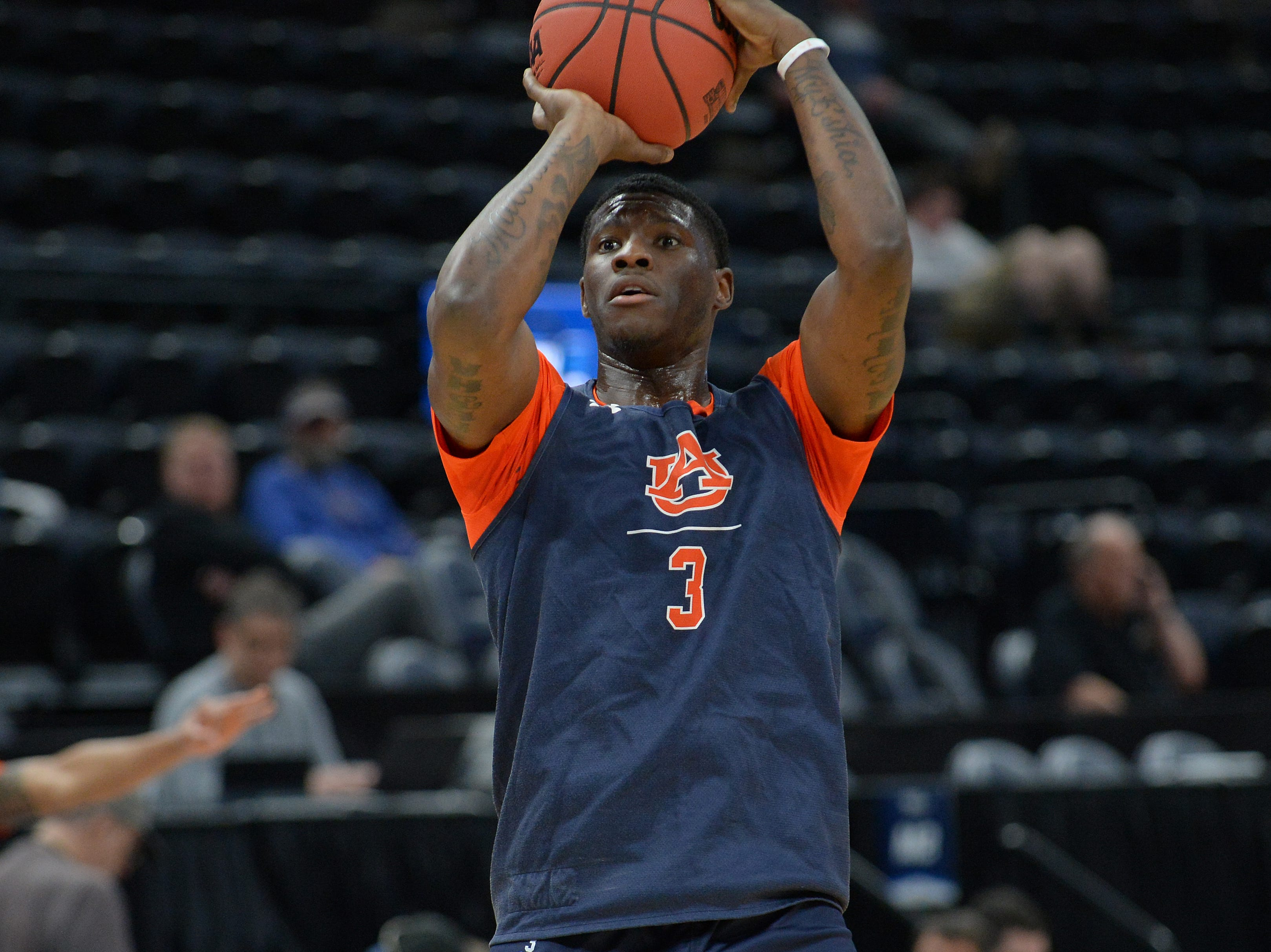 March 20, 2019; Salt Lake City, UT, USA; Auburn Tigers forward Danjel Purifoy (3) during practice before the first round of the 2019 NCAA Tournament at Vivint Smart Home Arena. Mandatory Credit: Gary A. Vasquez-USA TODAY Sports