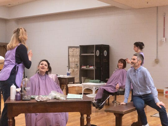 """Director Rick Dildine, right, with cast members during rehearsal for """"Steel Magnolias"""" at the Alabama Shakespeare Festival. The play runs March 21-May 5, 2019."""