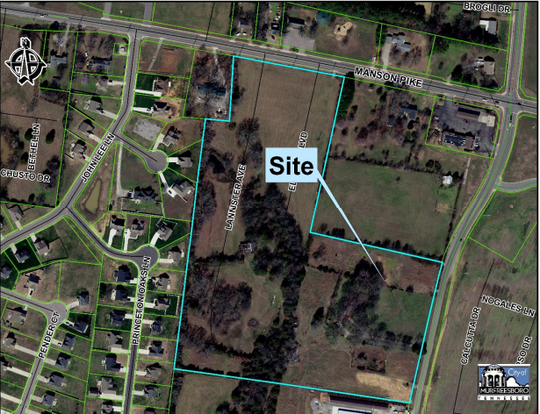 A proposed 84 Blackman Station Townhomes on 14.3 acres off Brinkley Road near Manson Pike, according to plans approved Wednesday (March 20, 2019) by Murfreesboro officials. The Planning Commission also approved plans for 32 single family housing lots on 8.3 acres for the Blackman Station subdivision.