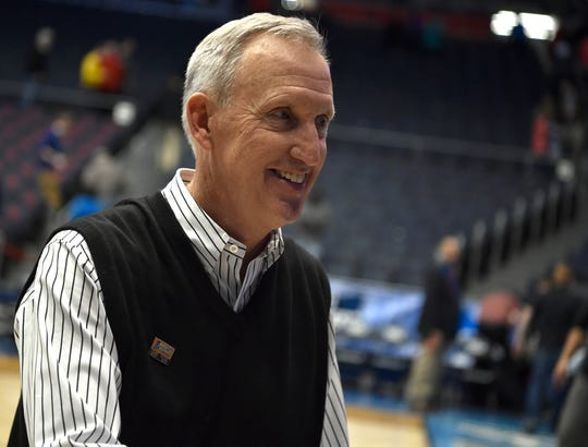 Belmont head coach Rick Byrd smiles as he heads off the court after beating Temple in the NCAA college basketball tournament First Four game at the University of Dayton Arena in Dayton, Ohio, Tuesday, March 19, 2019.