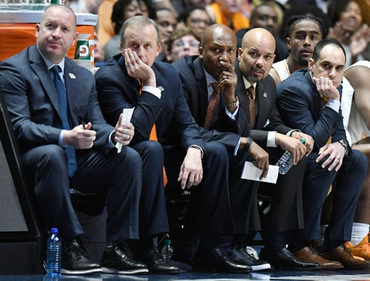 From left, Tennessee video coordinator Bryan Lentz, coach Rick Barnes, assistant coach Desmond Oliver, associate coach Rob Lanier and assistant coach Michael Schwartz