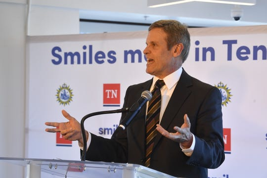 Gov. Bill Lee speaks during the announcement of an expansion by SmileDirectClub in Nashville Wednesday. State officials have not revealed their incentive package for the company.