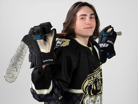 Tristen Arkon 17, of Mt. Juliet High School hockey team Wednesday, March 20, 2019 in Nashville, Tenn.
