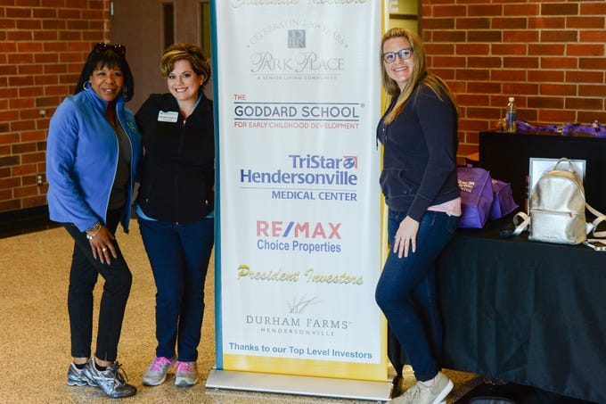Gennie Campbell, Kathleen Hawkins and Kendell Sinks pause for a photograph during the Mid TN Babies and Beyond Fest and Be Healthy Hendersonville Expo Presented by Hendersonville Area Chamber of Commerce at Hendersonville High School on Saturday, March 16.
