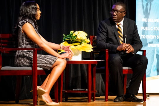 Nashville public schools Director Shawn Joseph and Kennedy Musgrave, a 12th grade student at Hillsboro High School, speak during the annual state of Metro Schools address at Stratford STEM Magnet School Wednesday, March 20, 2019, in Nashville, Tenn.