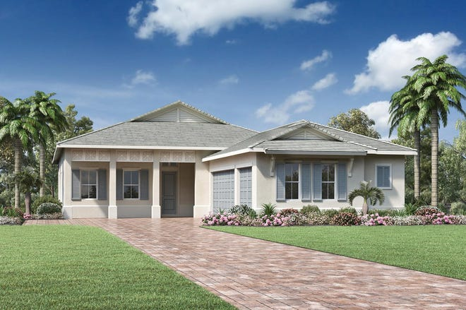 The Avery Island Colonial model is one of several models that will be ready this fall at Azure at Hacienda Lakes.