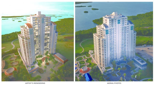 Left: Artist's rendering reflects the vision of the Seaglass prior to the start of construction.  Right: Mission accomplished!  The completed Seaglass tower is the embodiment of Ronto's original vision.