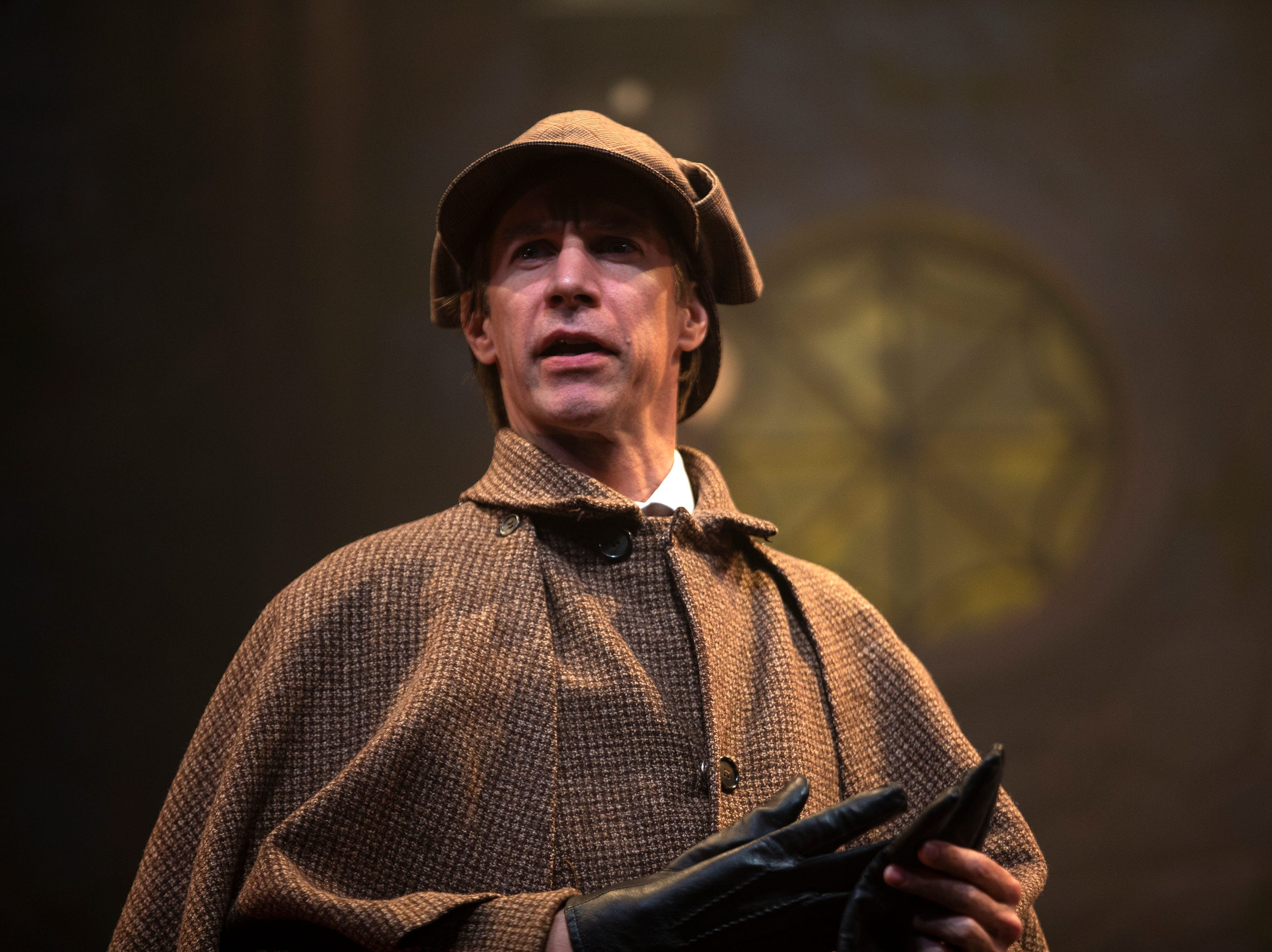 Christopher Kelly rehearses a scene in 'Holmes and Watson', Tuesday, March 19, 2019, at the Gulfshore Playhouse in Naples.
