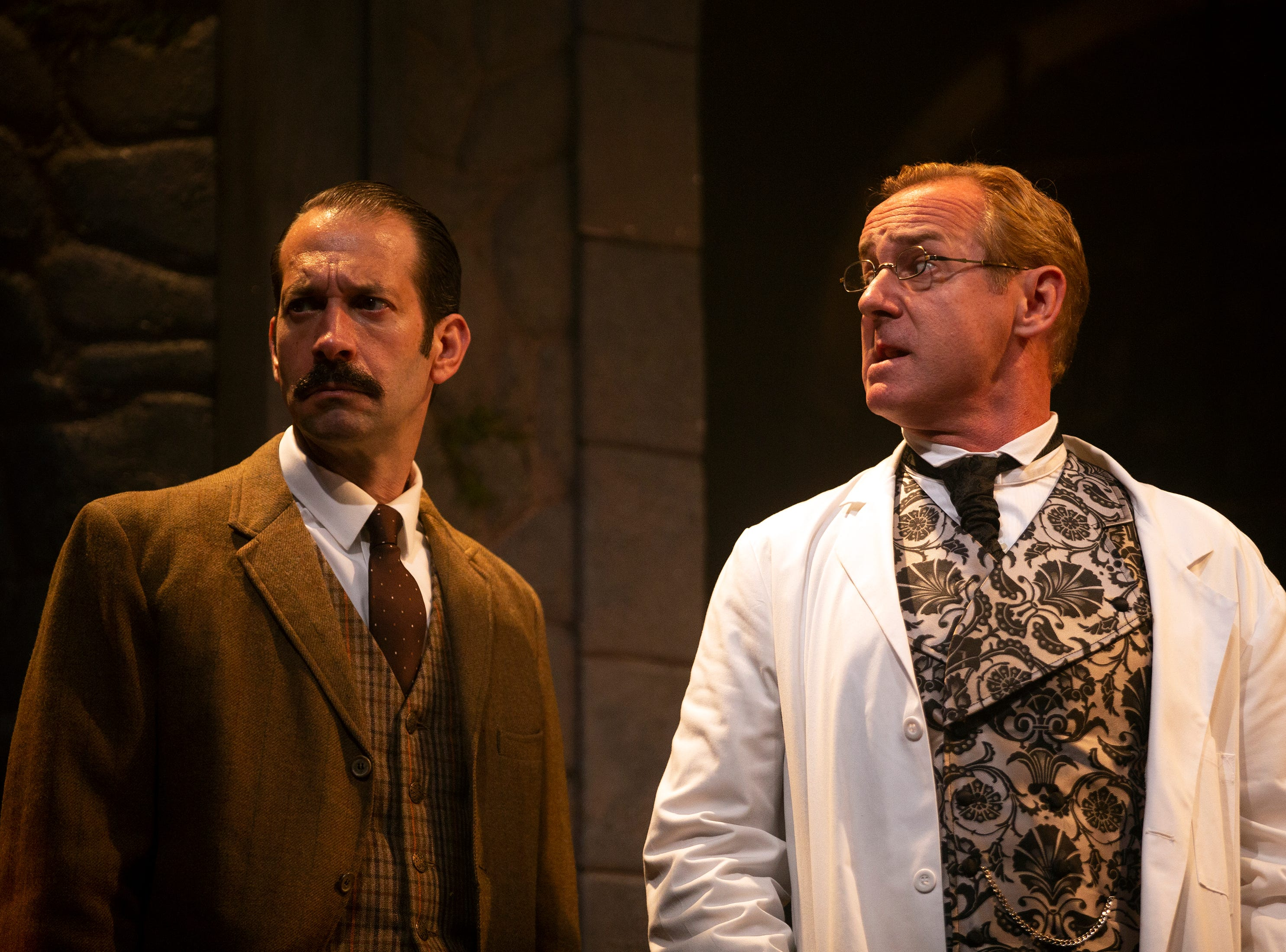 Jeffrey Binder and David Whalen act in a scene from 'Holmes and Watson', Tuesday, March 19, 2019, at the Gulfshore Playhouse in Naples.
