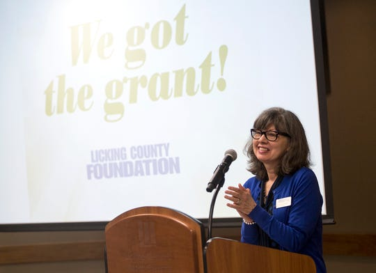Connie Hawk, Director of the Licking County Foundation, speaks at their breakfast celebrating grant recipients across the county.