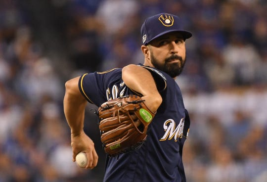 Pitcher Gio Gonzalez of the Milwaukee Brewers pitches during the first inning of Game Four of the National League Championship Series against the Los Angeles Dodgers at Dodger Stadium on October 16, 2018 in Los Angeles, California.