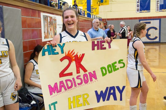 Eastern Christian senior Madison Wynbeek was honored for scoring her 2,000th career point in an NJIC girls basketball win over Pompton Lakes on Feb. 14, 2019.