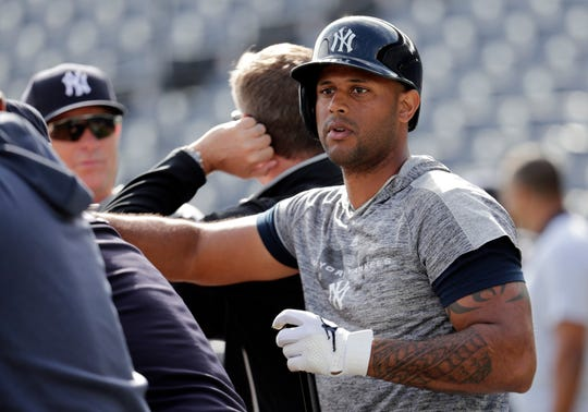 New York Yankees' Aaron Hicks takes batting practice earlier this spring prior to a game against the Toronto Blue Jays, Monday, Feb. 25, 2019, in Tampa, Fla.