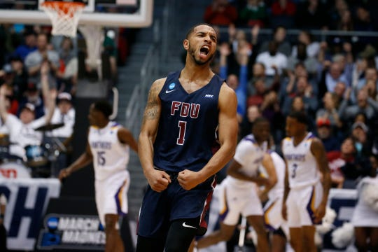 Mar 19, 2019; Dayton, OH, USA; Fairleigh Dickinson Knights guard Darnell Edge (1) reacts to a play in the second half against the Prairie View A&M Panthers in the First Four of the 2019 NCAA Tournament at Dayton Arena.